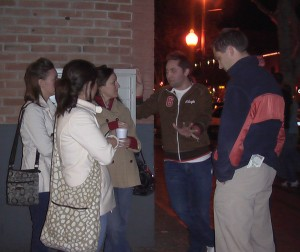 David and the girls witness to a man out with his friends on Mill.