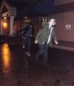Random guys preform dance routine on Mill.