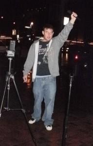 Drunk man gets 5 mins of fame on mic.
