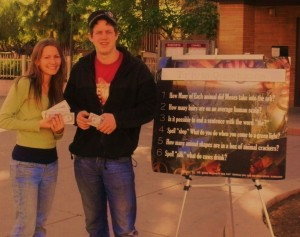 Myself, and Jonathan; ready with our tracts and trivia:)