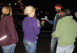 Ephrem handing out some gospel tracks