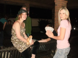 Christy has the opertunity to invite a young lady to bible study as Breeane witnesses to a homeless man(in background)