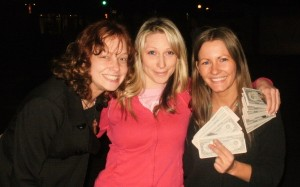 Breeanne, Christy and me(from left) pose with our gospel tracks