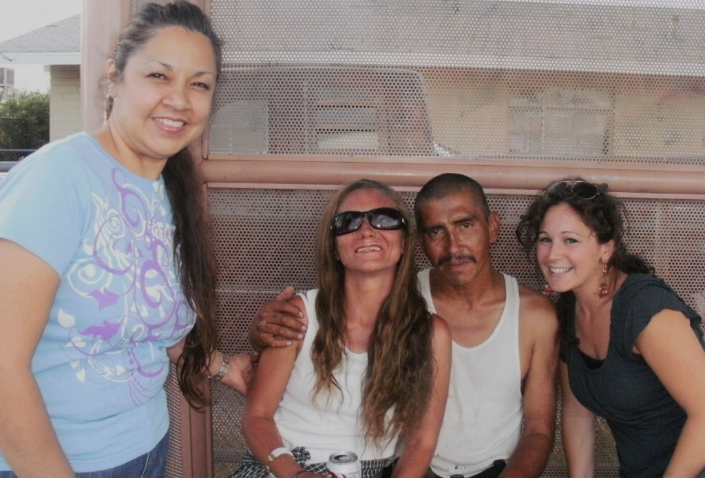 Team ministers to two very sweet homeless people. Barbara(sun glasses) lost her eye sight 5 years ago.